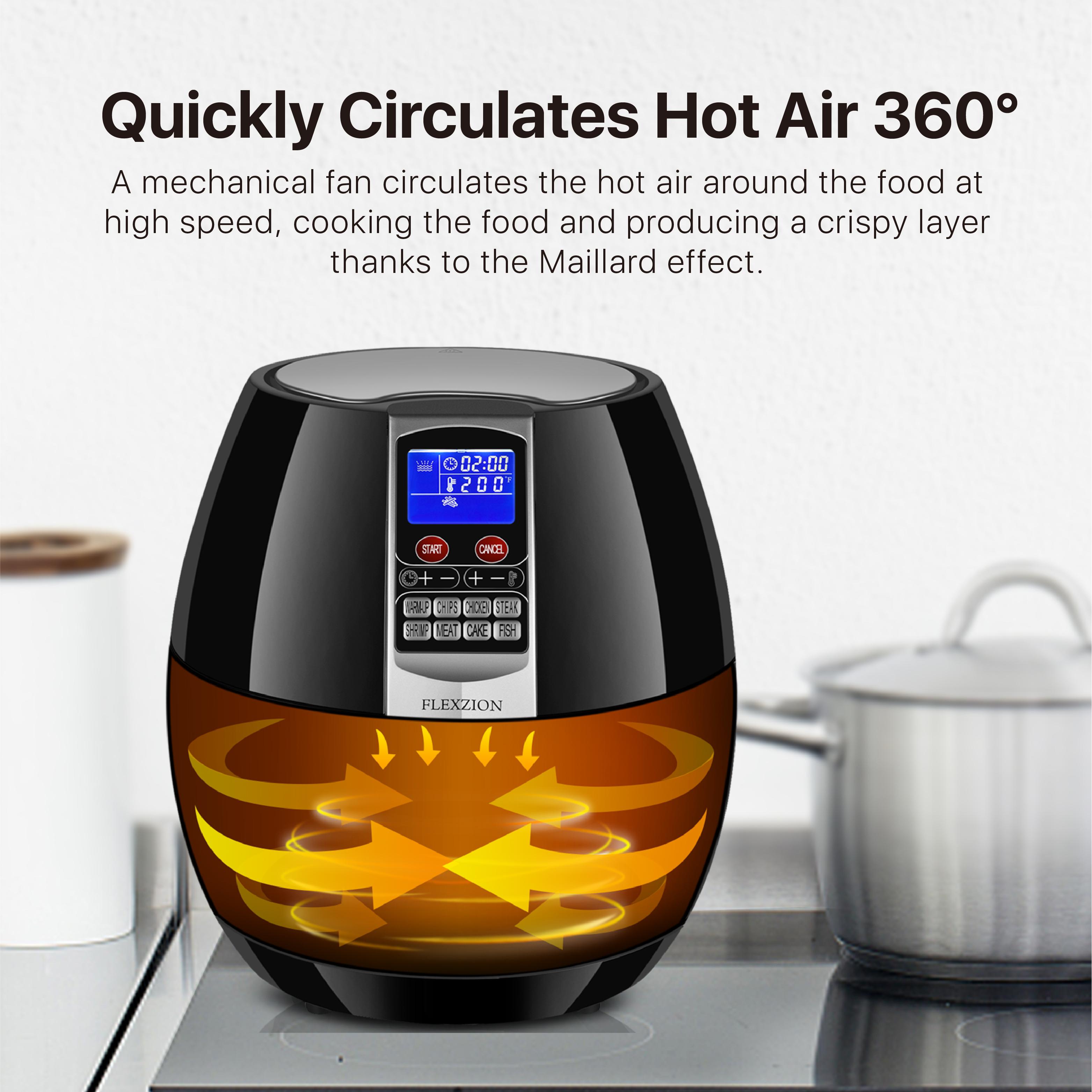 Electric Air Fryer Cooker Oil Less Dry Hot Air Steam Fryer