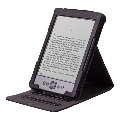 Kindle 5 & Kindle 4 PU Leather Folio Case Cover Stand - with Auto Sleep/Wake Feature (Only Fit Amazon Kindle With 6'' E Ink Display, does not fit Kindle Paperwhite, Touch, or Keyboard), Black
