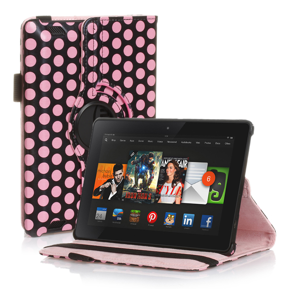 Rotating PU Leather Smart Case Cover For Amazon Kindle