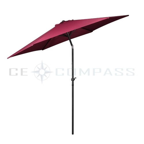 9 39 ft 10 39 ft aluminum umbrella 6 rib market patio yard beach for Patio table umbrella 6 foot