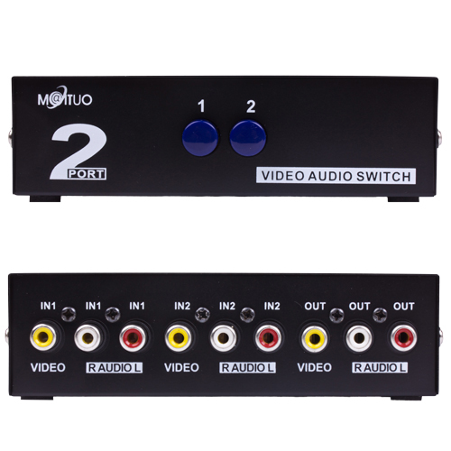 AV Switch Box Switcher Selector 2 Way Port RCA Stereo Audio Video