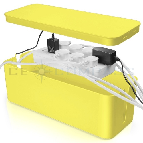 cable management box cord organizer kit yellow 13 cover conceal hide wire plug ebay. Black Bedroom Furniture Sets. Home Design Ideas
