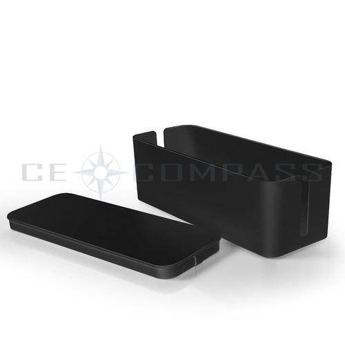 cable management box cord organizer kit black large cover conceal hide wire plug ebay. Black Bedroom Furniture Sets. Home Design Ideas