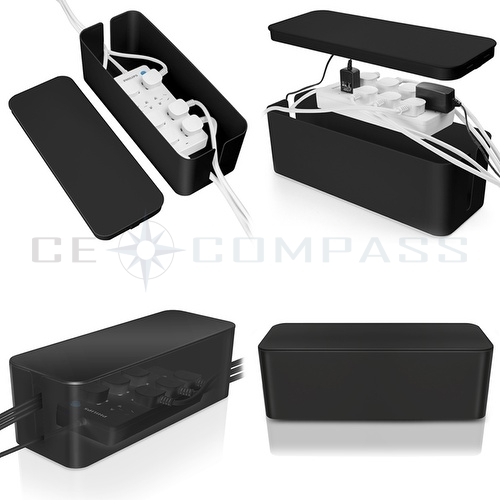 cable management box cord organizer kit black large cover conceal hide wire plug ebay. Black Bedroom Furniture Sets. Home Design Ideas