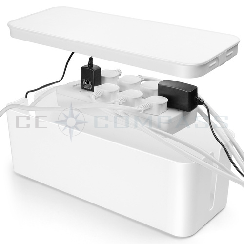 Cable Management Box Cord Organizer Kit White Large Cover