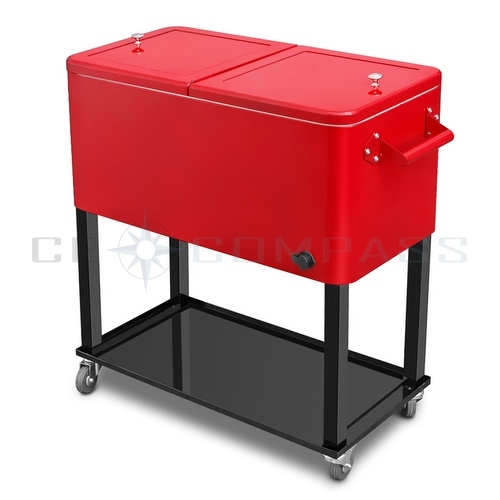 Patio Deck Rolling Cooler: Patio Deck Cooler Rolling Outdoor 65 Quart Solid Steel