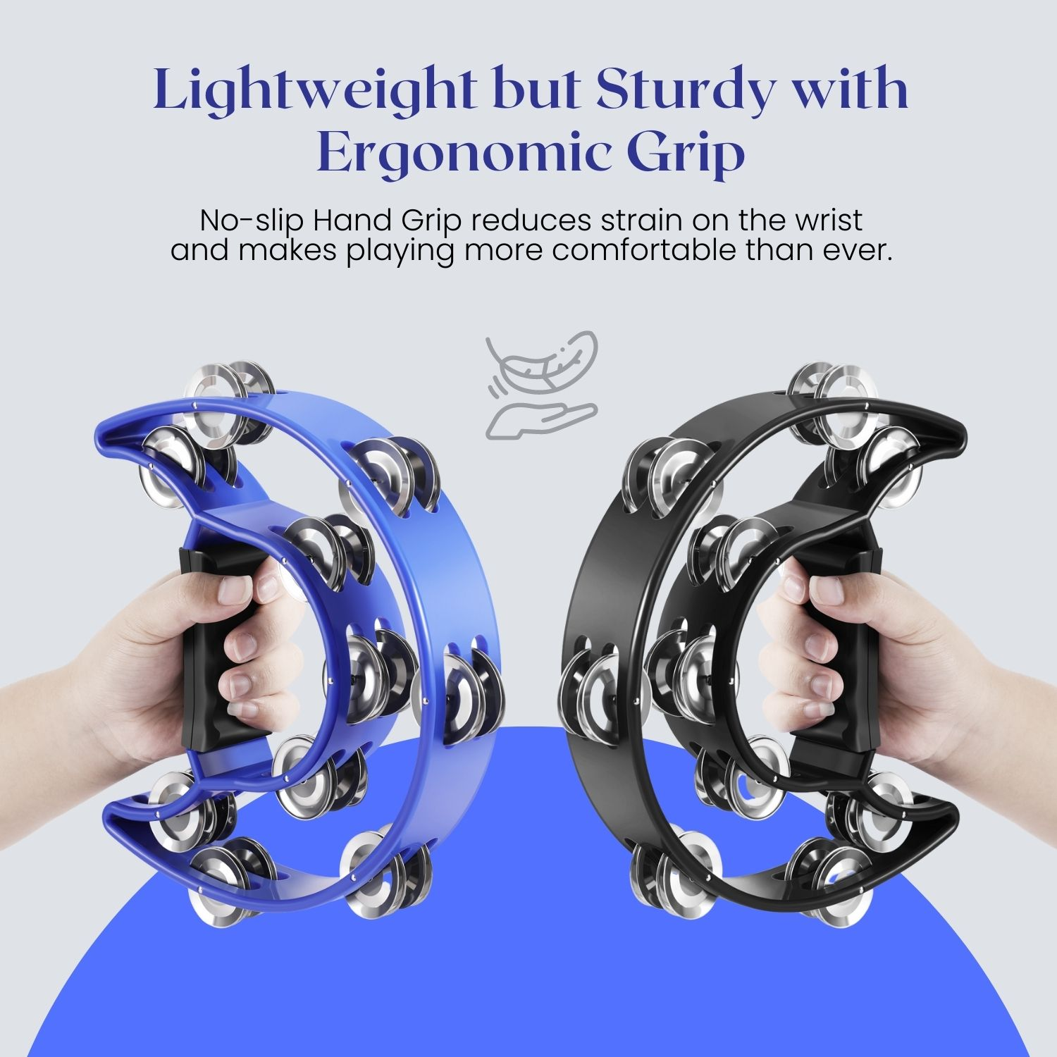 Double Row Jingles Half Moon Musical Tambourine Percussion Drum Blue Party Gift