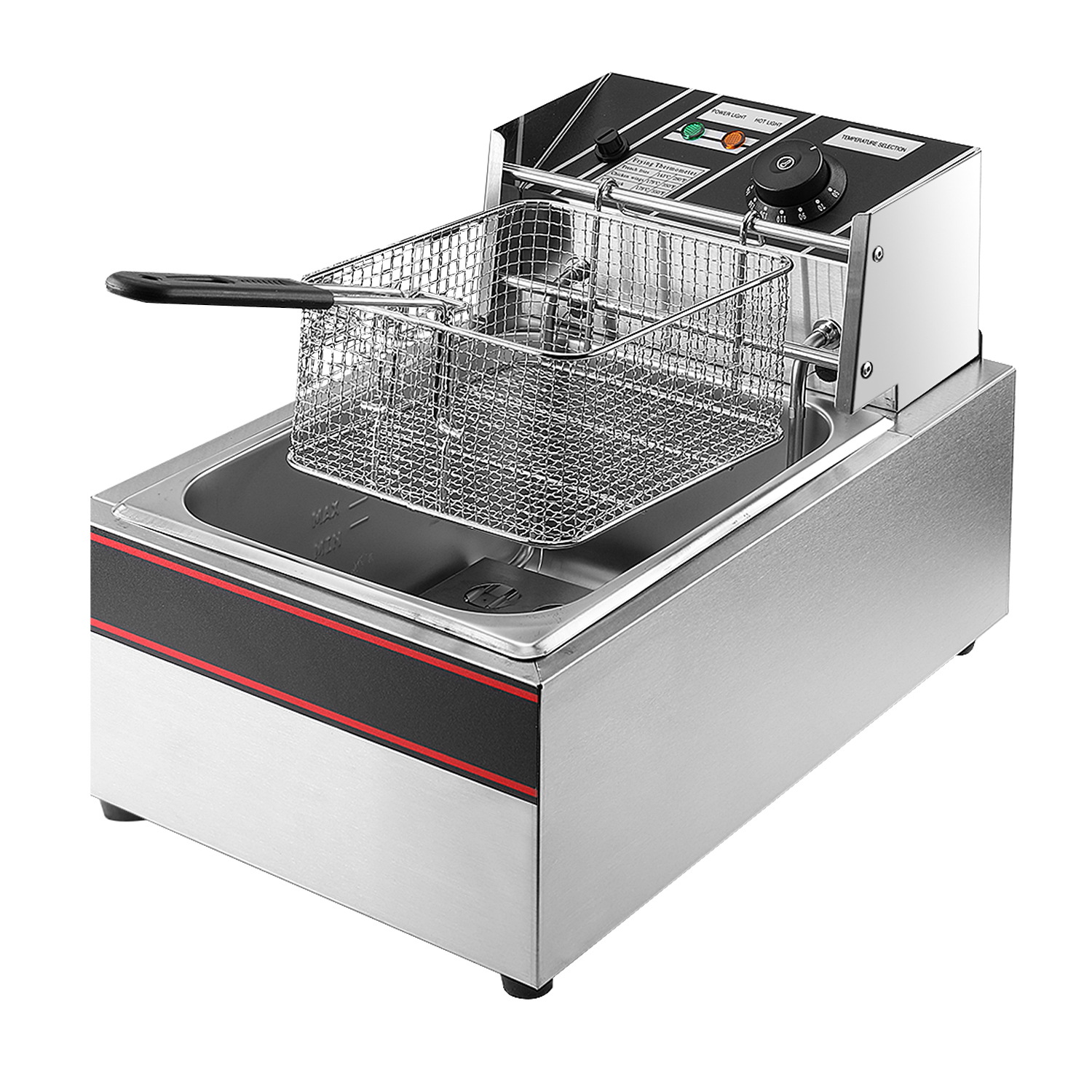 electric countertop deep fryer tank basket commercial restaurant heavy stainless steel for at home or commercial