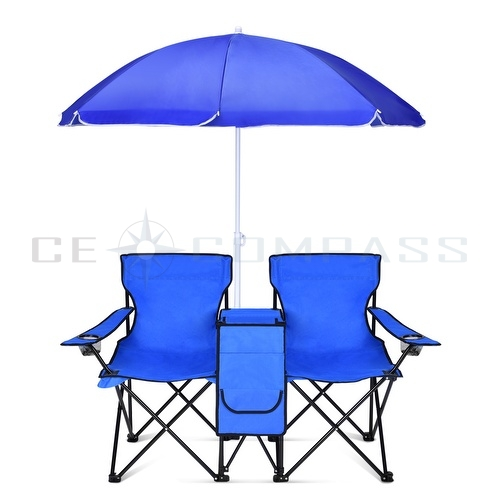 Double Folding Chair Umbrella Table Cooler Fold Up Beach Picnic Camping Garde