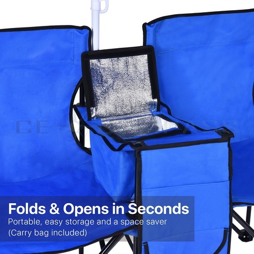 Double Folding Chair Umbrella Table Cooler Fold Up Beach