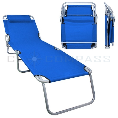 Portable lawn chair folding reclining outdoor chaise for Beach chaise lounger
