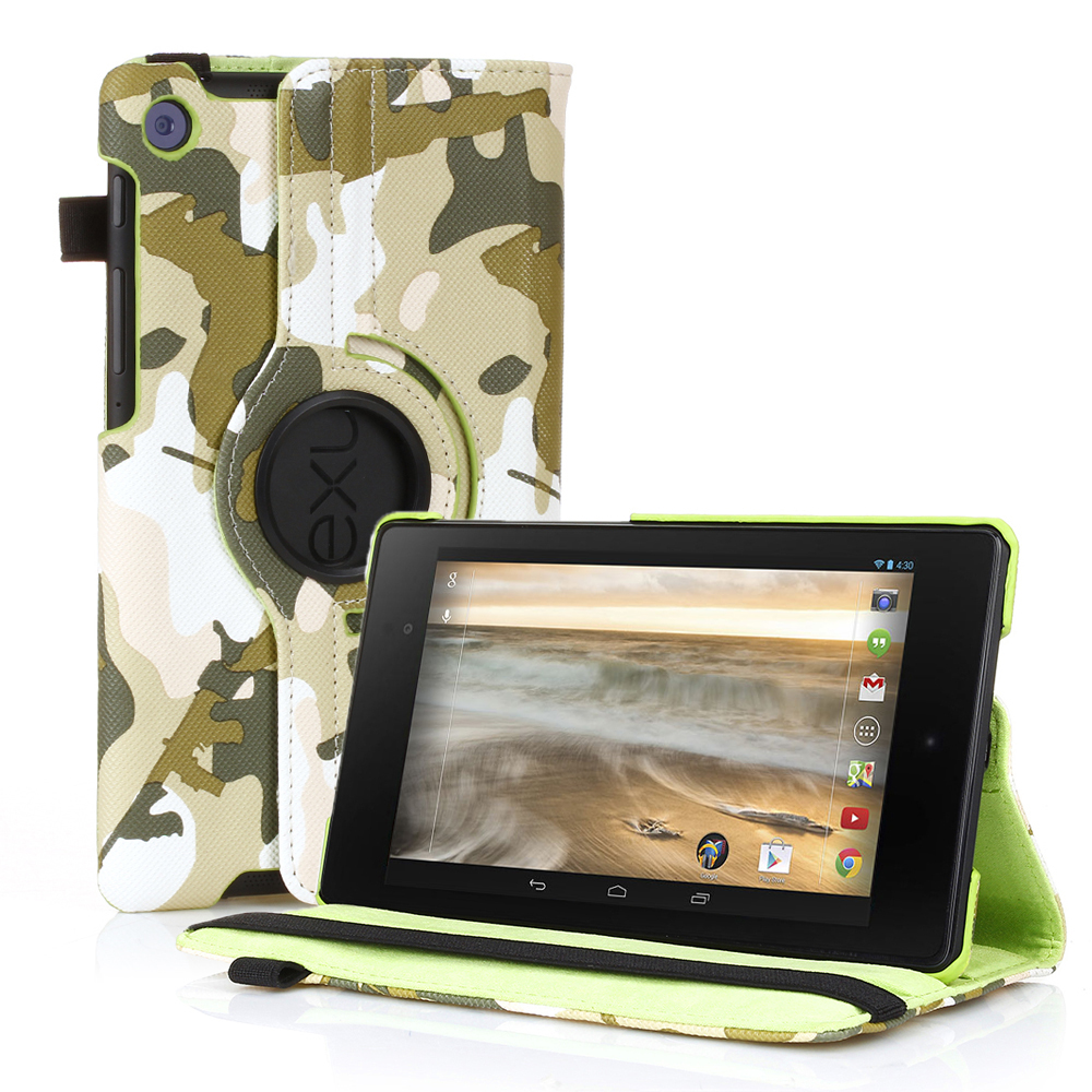 CE Compass 360 Degree Rotating PU Leather Camouflage Case Cover with Stand for Google Nexus 7 II Green at Sears.com