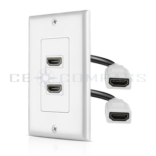 hdmi wall plate dual 2 port socket plug jack outlet cover panel