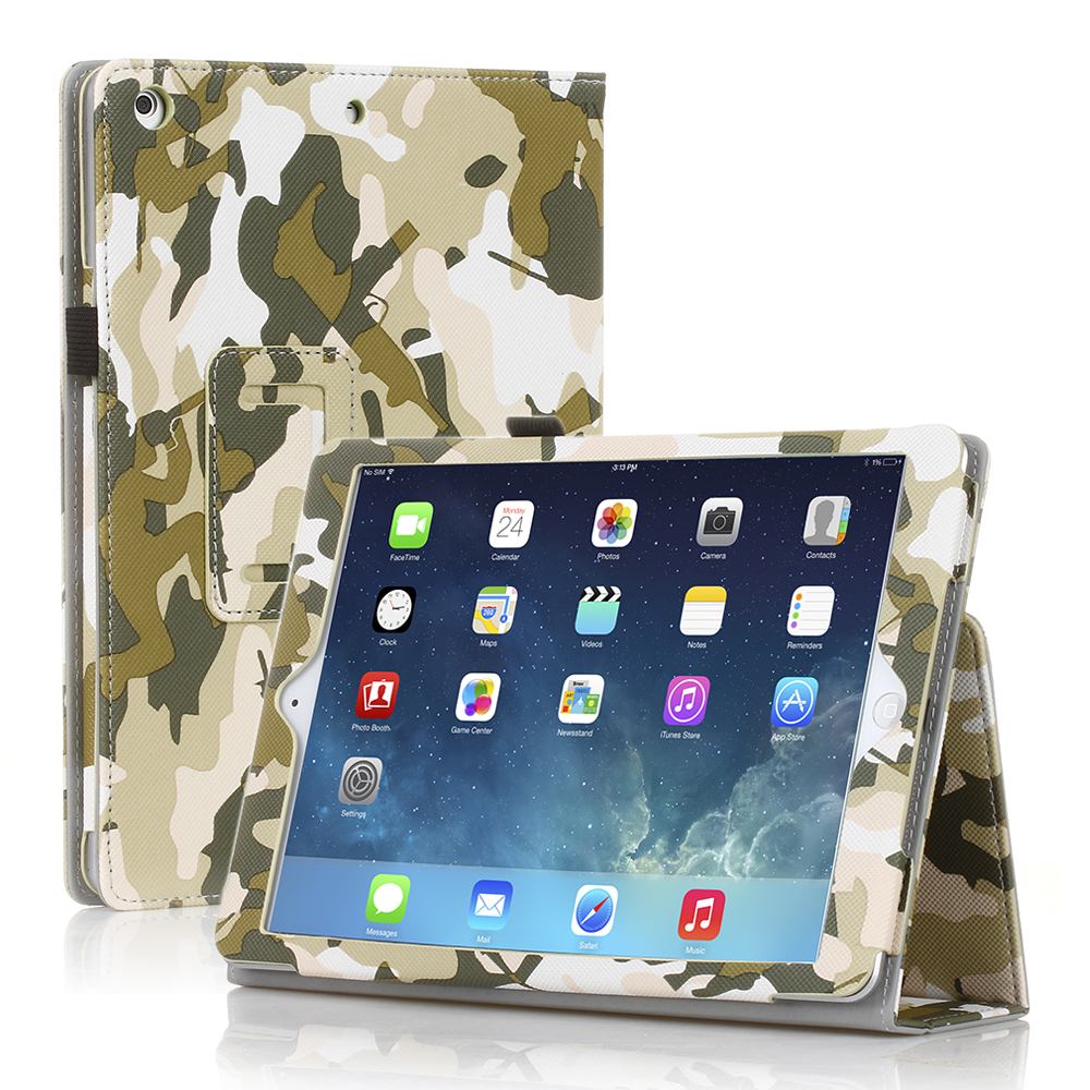 CE Compass PU Leather Folio Folding Stand Case Cover For Apple iPad Air 5 5th Gen Camouflage - Green at Sears.com