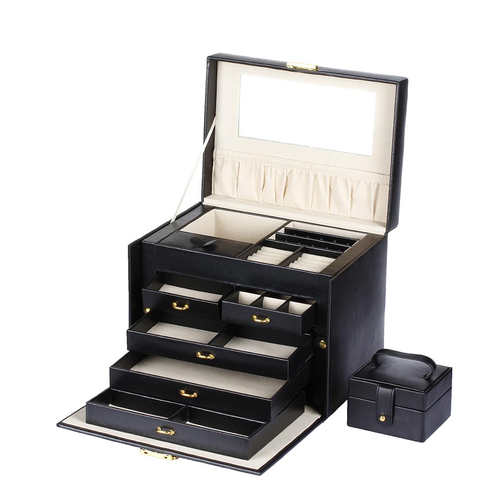 jewelry display box faux leather storage organizer