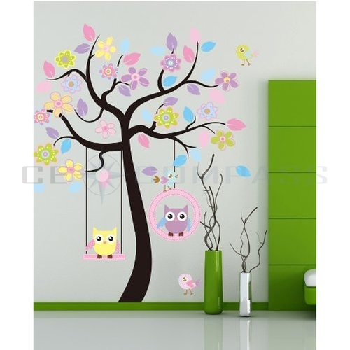 Cute owl bird swing flower tree wall stickers decor art for Bird and owl tree wall mural set