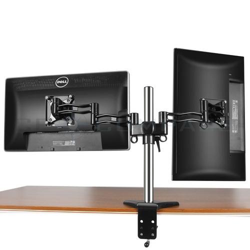 Dual Monitor Mount Desk Stand Adjustable Arm Tilt Swivel ...