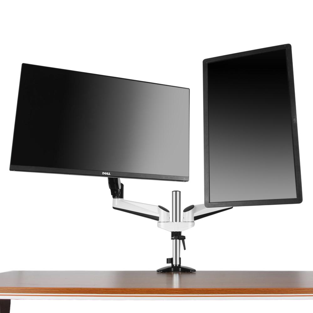 Dual Monitor Mount Desk Stand Adjustable Gas Spring Arm Tilt Swivel Rotate Vesa Ebay