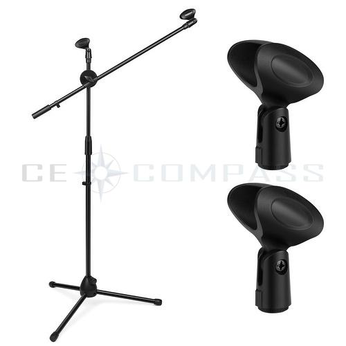 Microphone Stand Tripod Base Dual Mic Clip Rotating