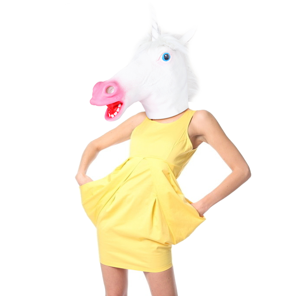 Horse Head Mask Creepy Animal Halloween Costume Theater Prop ...