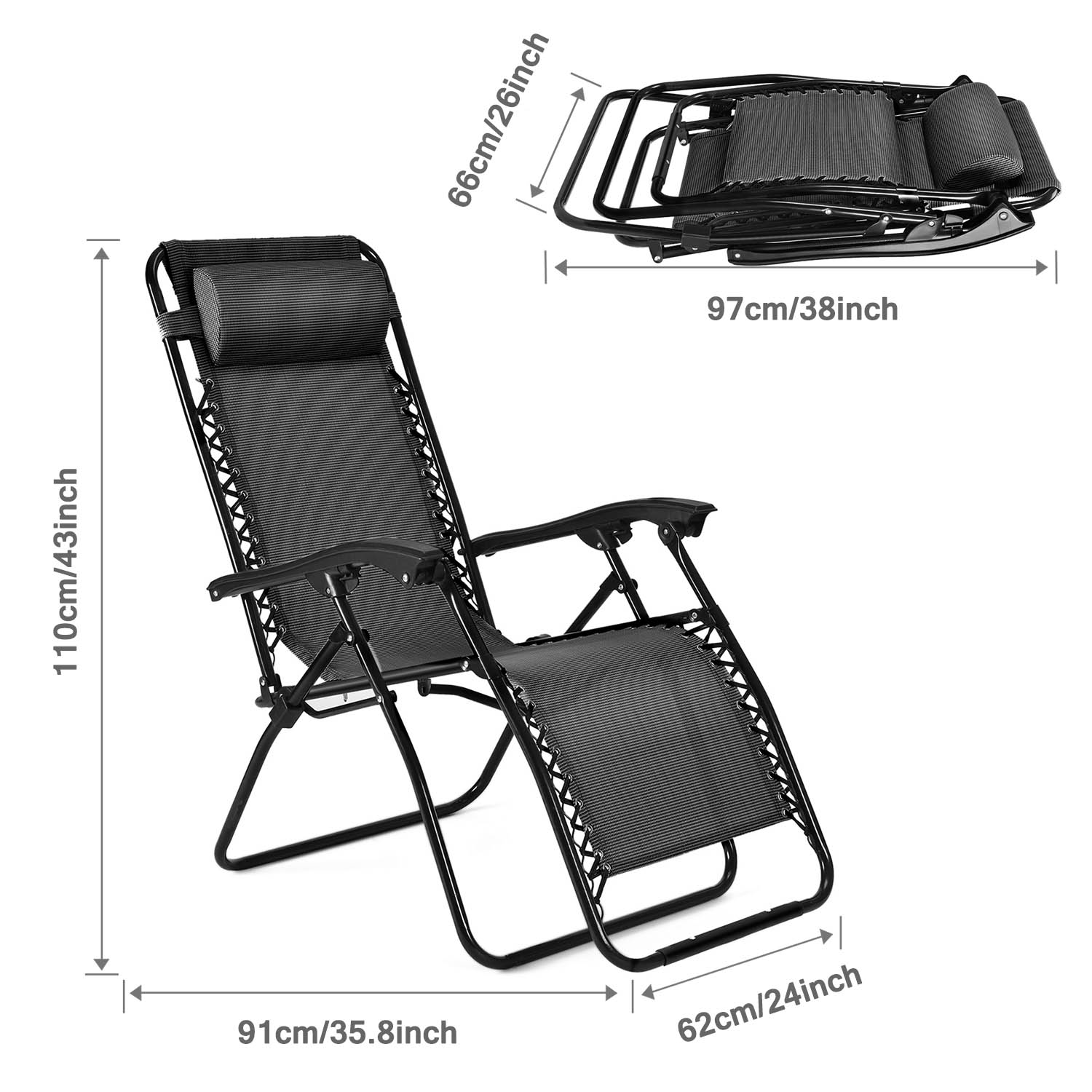 Zero Gravity Chair Outdoor Lounge Folding Reclining
