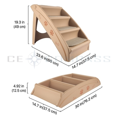 Folding PET Stairs DOG CAT Step Ramp Ladder Large Portable FOR Tall BED IN Beige : eBay