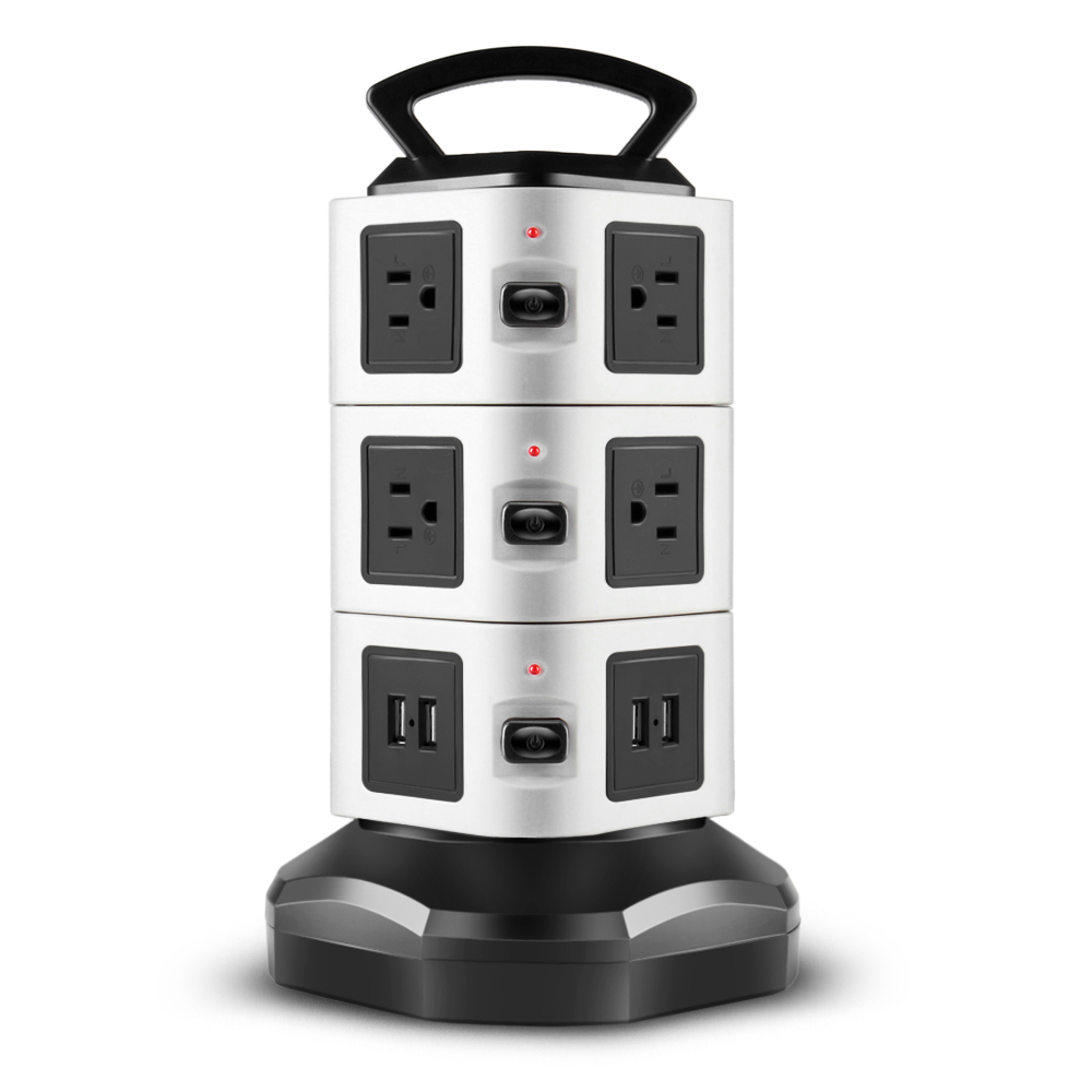 power strip with usb surge protector 10 ac outlet 4 usb port charger charging station power supply adapter multi socket plug powerstrips bar stand tower
