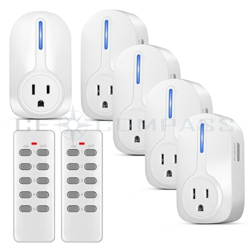 Remote Control Outdoor Wall Lights : 5 Pack Wireless Remote Control Power Outlet Plug Light Switch Socket 2 Remotes eBay