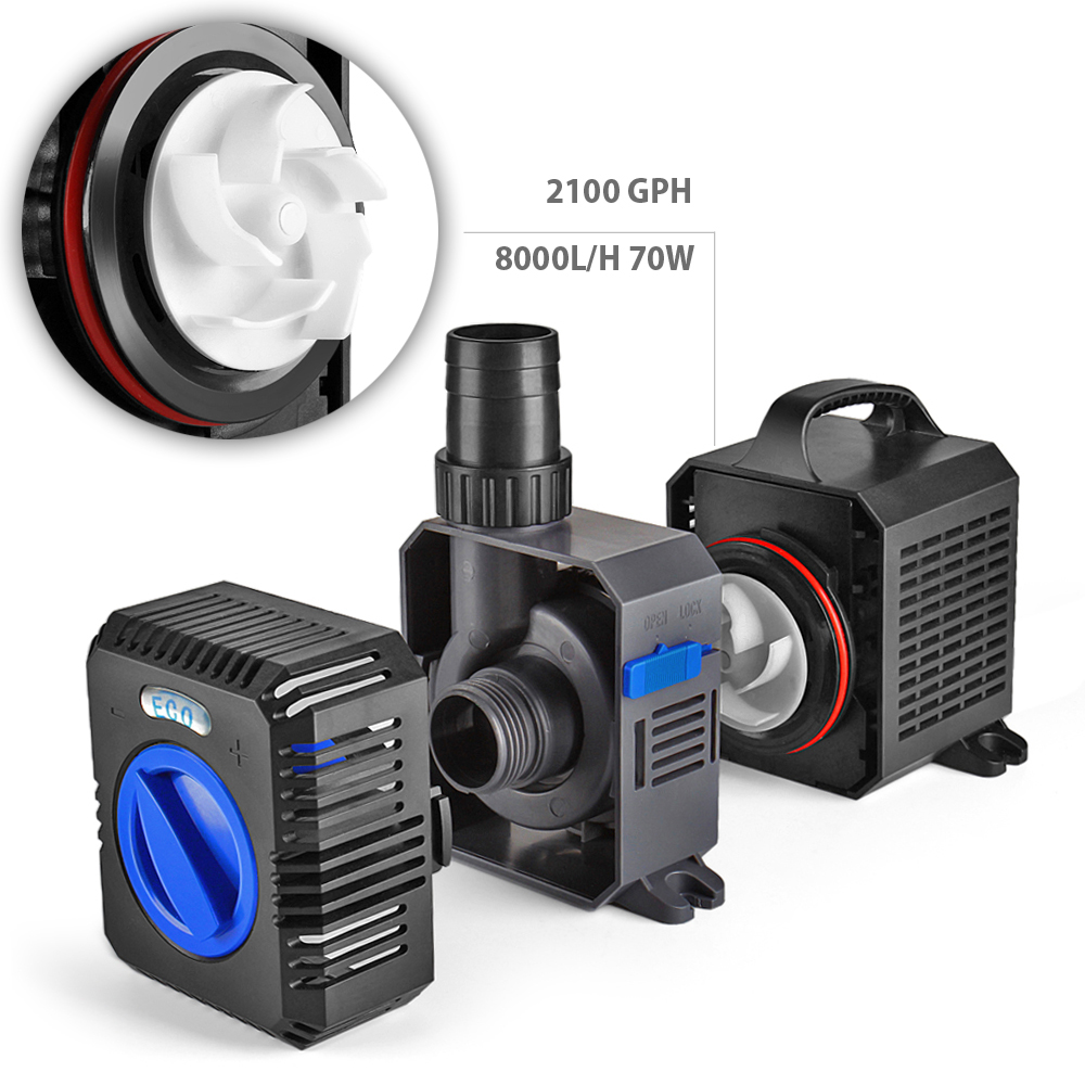 Pond pump 2100gph adjustable submersible inline fountain for Pond waterfall pump