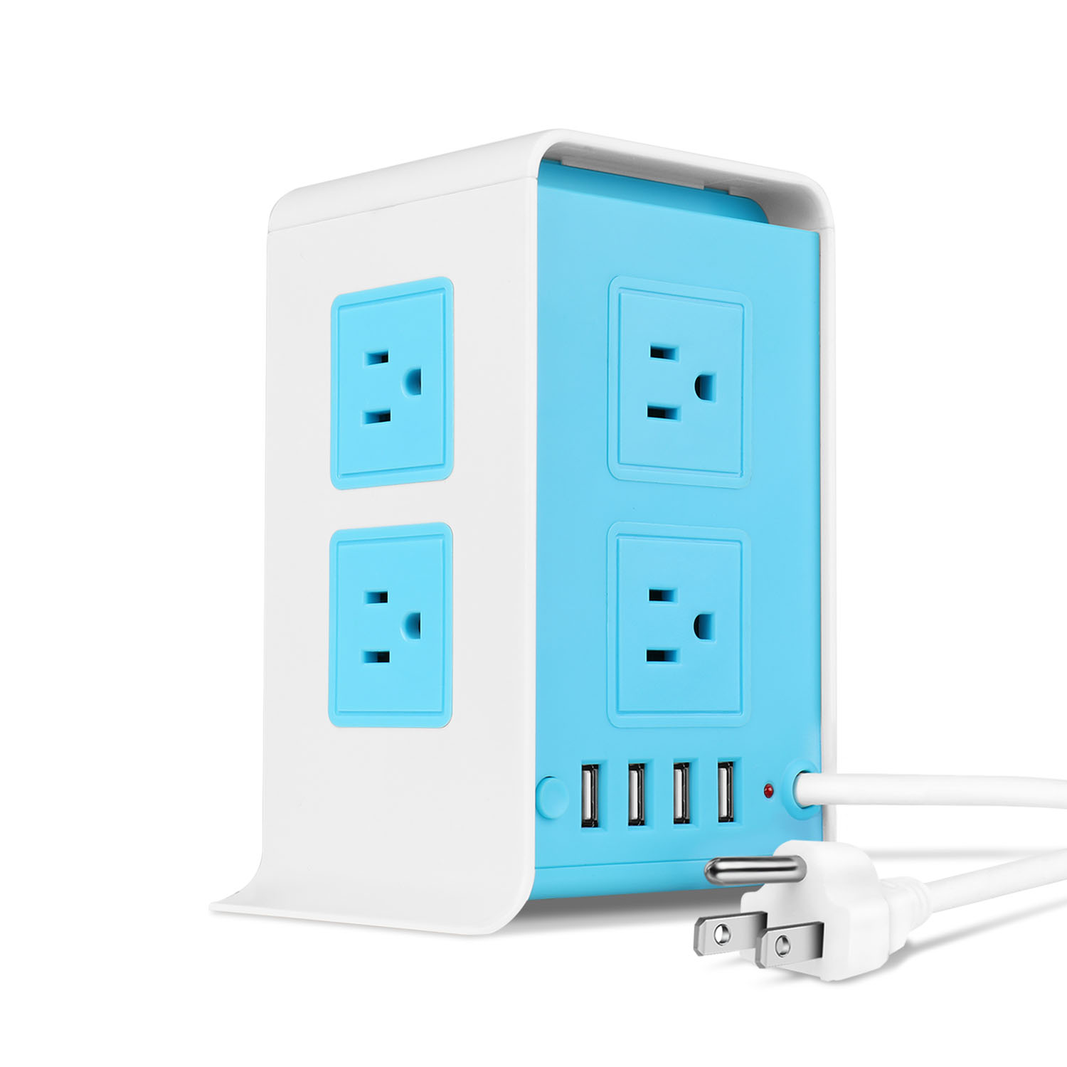 Power Strip Tower, 8 AC Outlet 4 USB Port Charging Station,