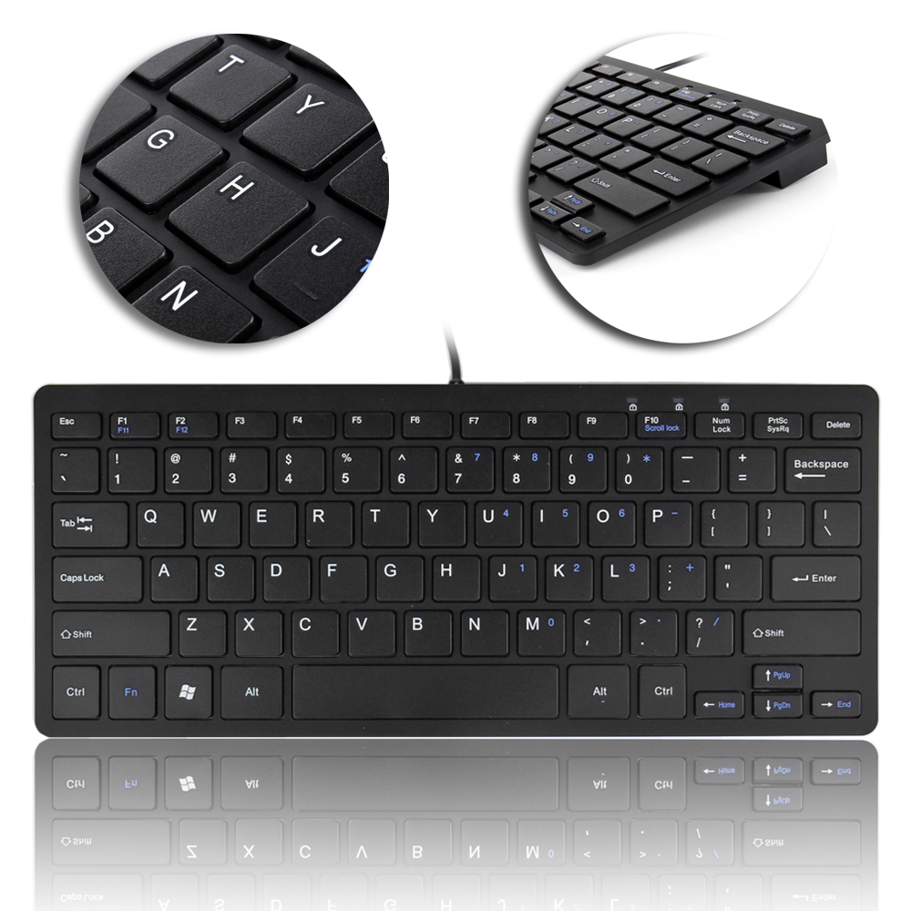 ultra slim wired usb mini keyboard for pc mac laptop ps3 ps4 xbox 360 one black ebay. Black Bedroom Furniture Sets. Home Design Ideas