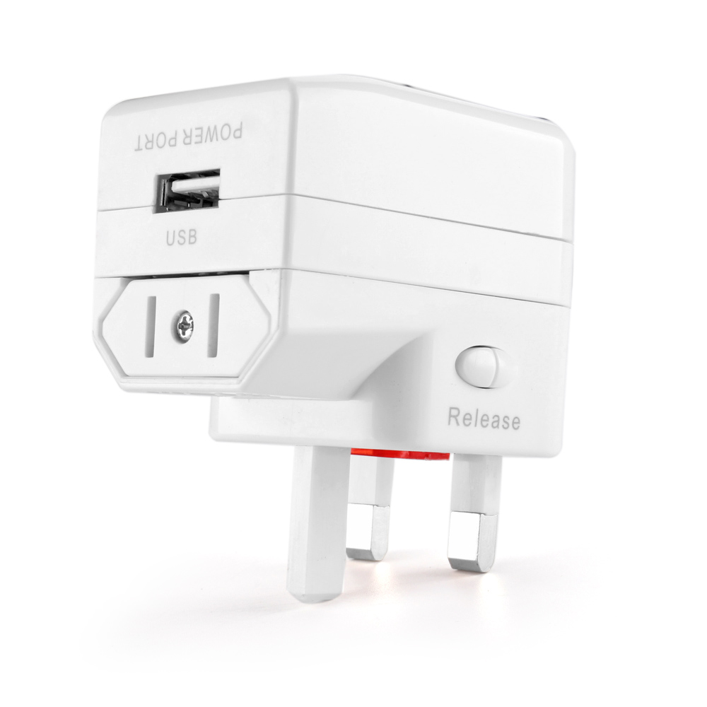 Us to uk ac power plug white black travel wall adapter plug converter - Ac Adapter Will Convert Us Plugs To Any Foreign Sockets With Power Indicator Light Worldwide
