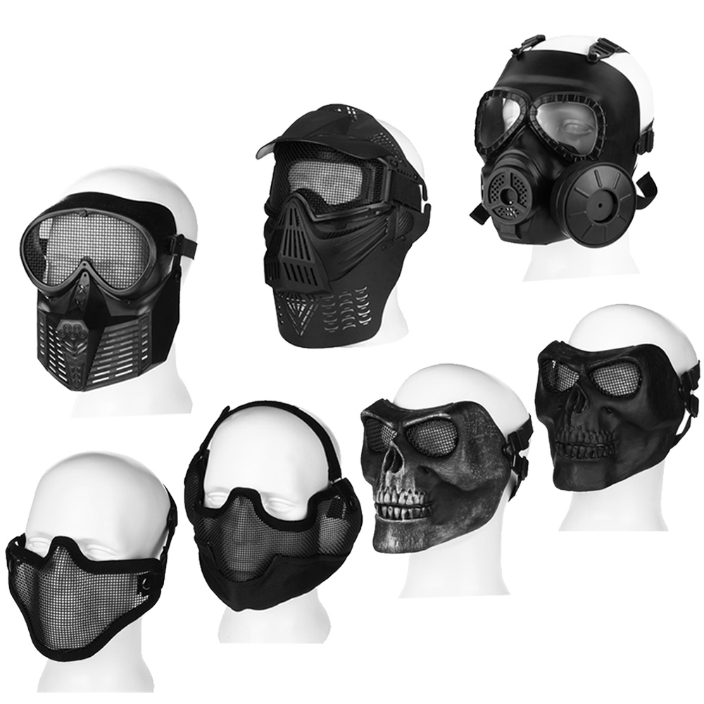 Paintball Tactical Airsoft Game Full / Half Face Protection Safety ...