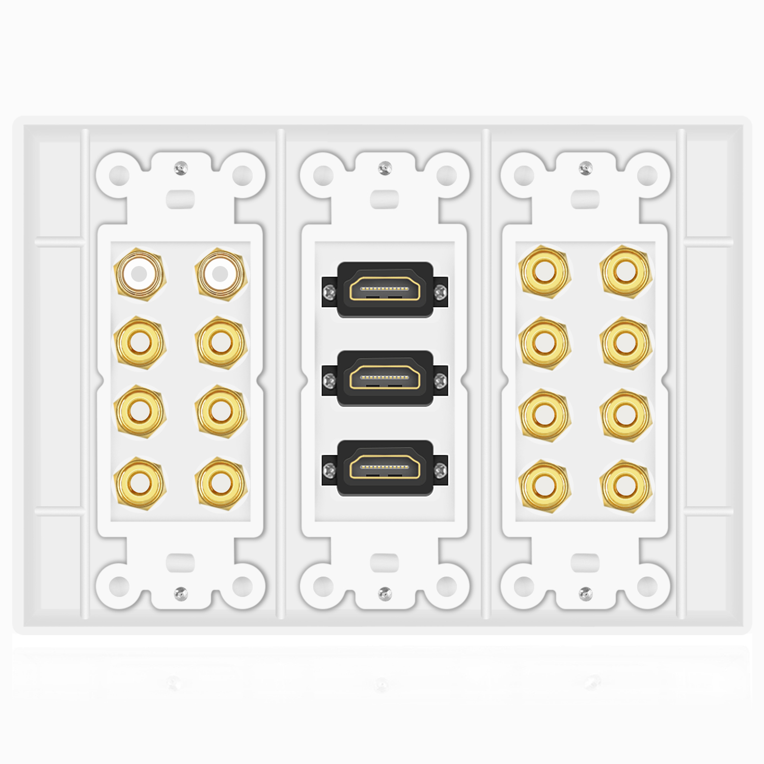 Home Theater Wall Plates 7.1 7.2 home theater speaker wall plate + 2 rca jacks + 3 hdmi