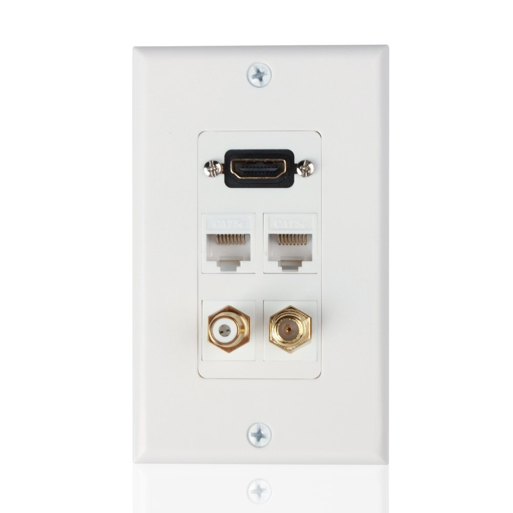 Hdmi Ethernet Rj45 Rca Coaxial Wall Plate Jack Socket