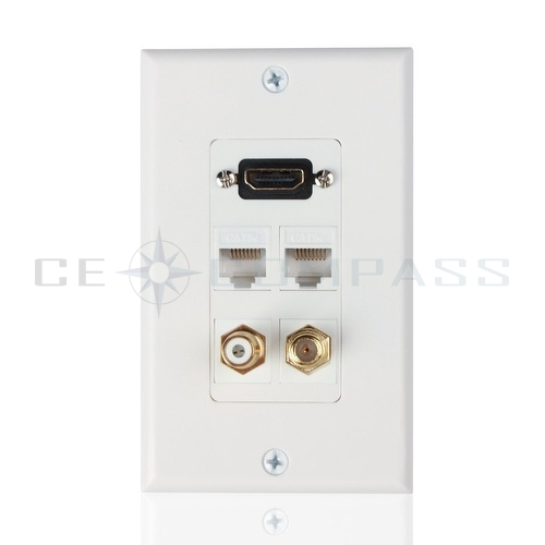 hdmi ethernet rj45 rca coaxial wall plate socket insert outlet cover panel ebay