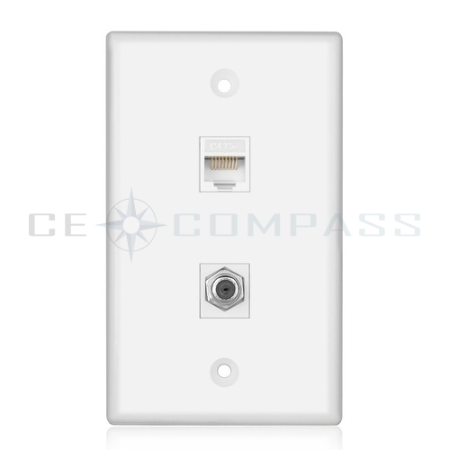 Coaxial Wall Mount : Coaxial connector ethernet network wall plate coax rj