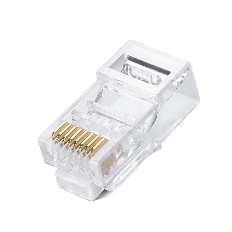 100PCS RJ45 Connector Cat5E Cat5 Crimp Modular Connector Ethernet Network Cable Plug Crystal Head 8P8C Not Connector End Pass Through