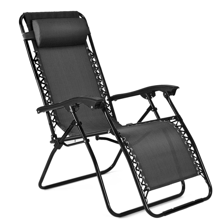 2 Folding Zero Gravity Chairs Garden Lounge Beach Camp Recliner Portable Pillows