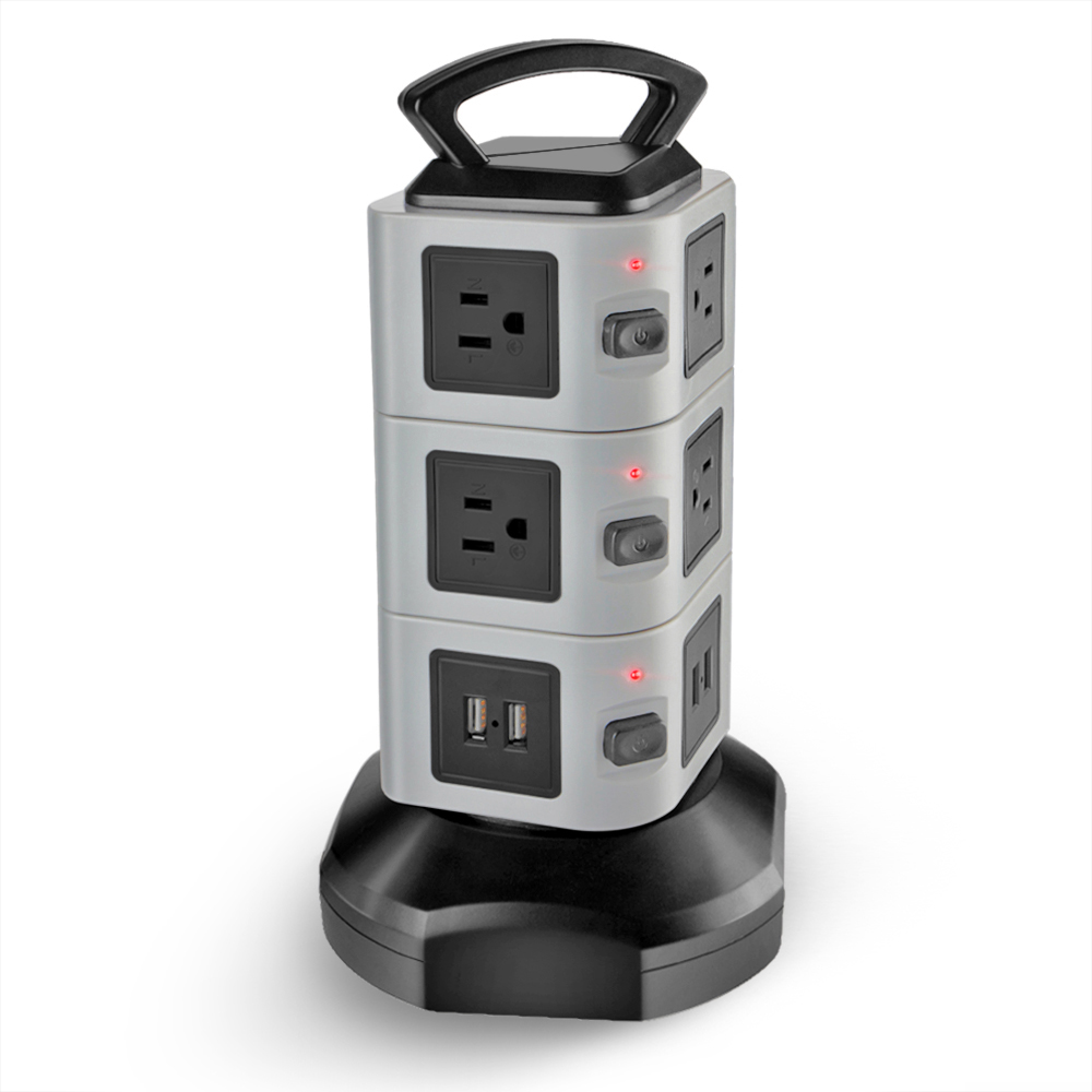 Power Strip with USB Surge Protector 10 Outlet 4 USB Port Charger Charging Tower