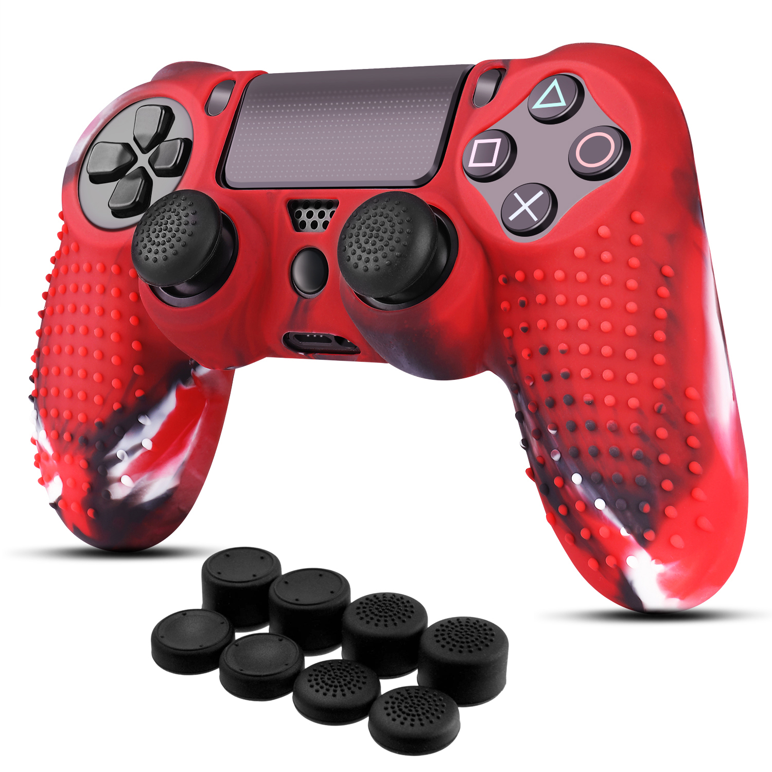 PS4 Controller Skin Thumb Grips BRHE 2 Pack DualShock 4 Silicone Cover Protector Skins Case Accessories Kits for Sony Playstation 4 //Slim//Pro Gamepad with 8 x Pro Thumb Grip Caps(Red /& Blue)