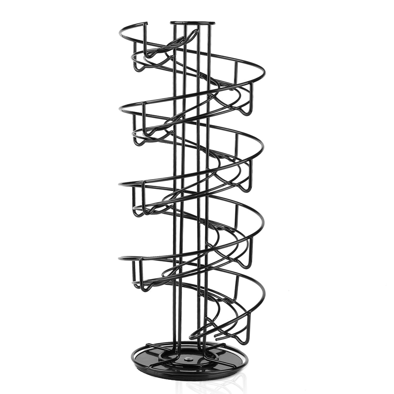 Large Spiral Design Egg Skelter Dispenser Black Metal Standing Storage Rack