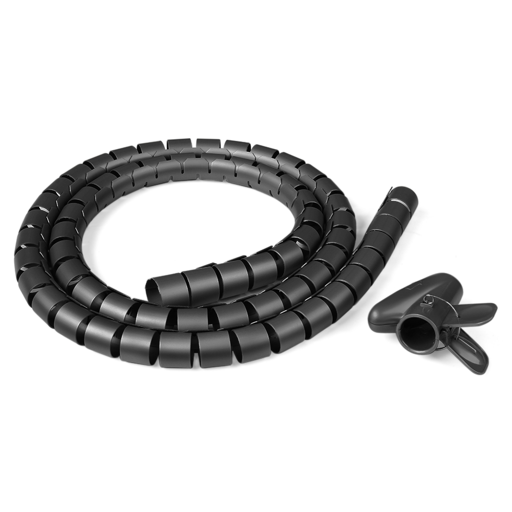 1.5M Spiral Tube Cable Cord Band Wire Wrap Tidy Management Organizer with Clip