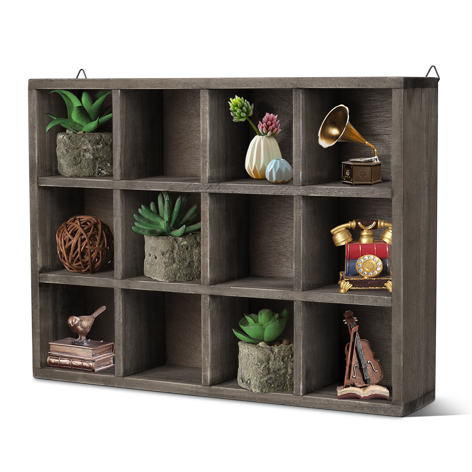 Details About Floating Shelf Brown Wood Wall Mounted Freestanding Shelving Unit Wooden Wall