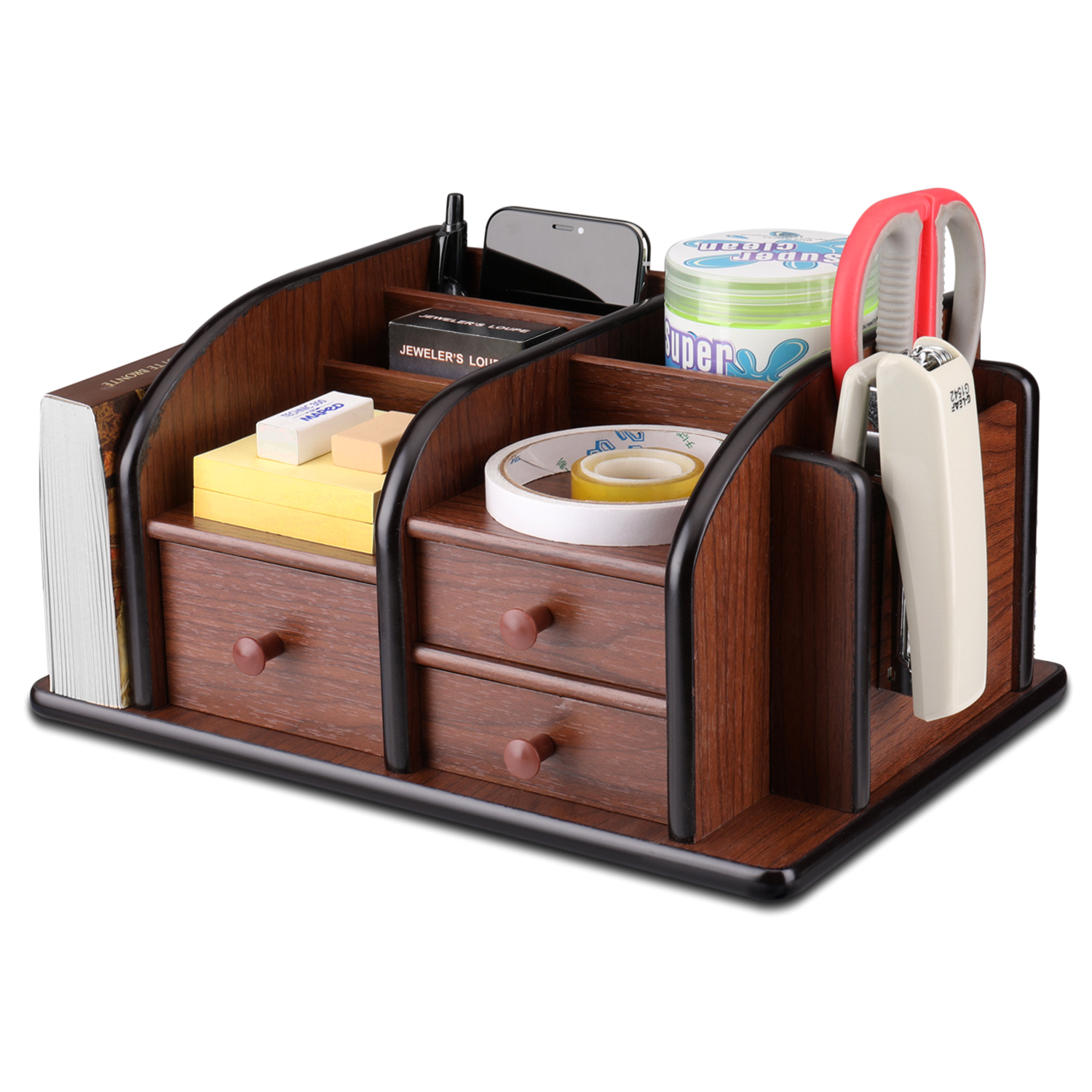 Wooden Desk Organizer w/ Drawers - Classic Wood Office Supplies Accessories Desktop Tabletop Sorter Shelf Rack Cherry Brown Pencil Holder Caddy Set with 3 Drawers, 3 Compartments & 2 Shelves