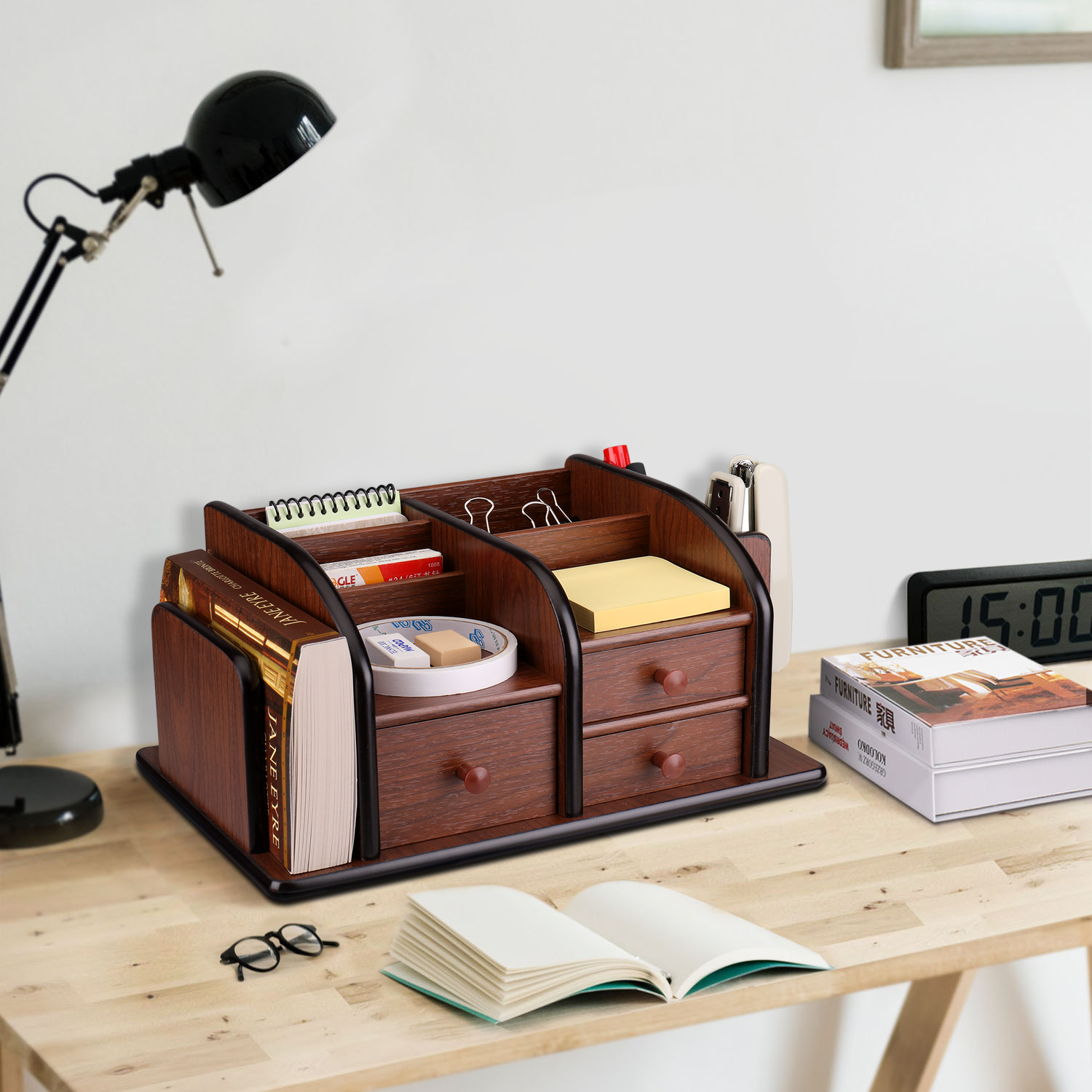 Decorate your desktop with this well-designed caddy; A smooth coating feels great to the touch and the rounded edges and trim enhance the visual appeal; Soft non-slip rubber gripper pads on the bottom to protect your desk as well as the organizer itself