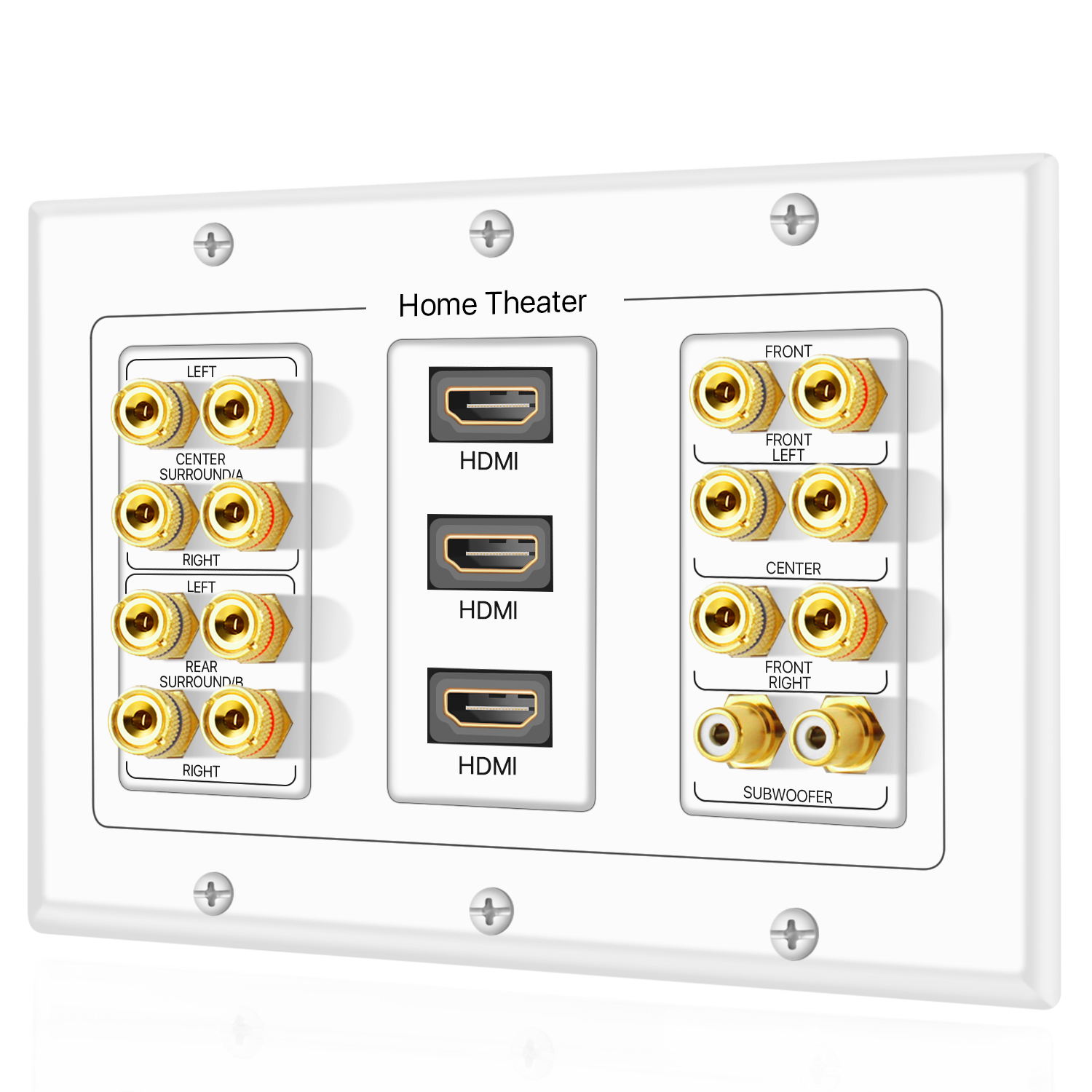 Speaker Wall Plate for 7.1-8 posts on each 2 Pk