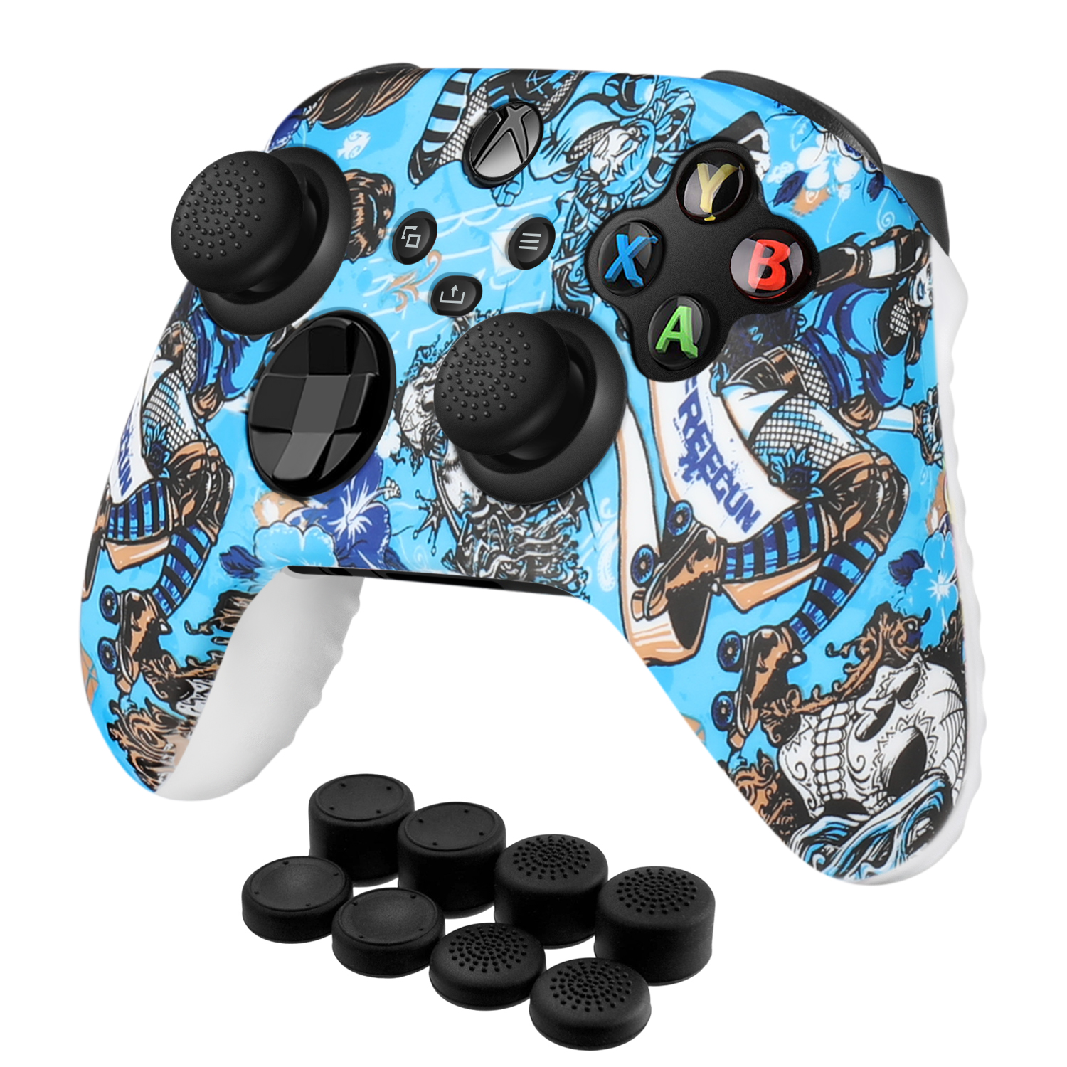 Xbox Series X|S Silicone Controller Cover Skin + 8 Thumb Grips Cap Set, Witch
